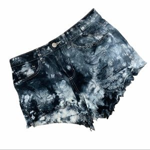 Forever 21 Tie Dye Distressed High Rise Shorts